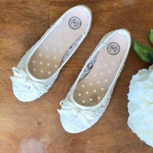 Girls White floral sequins Ballet Flats Lace Bow